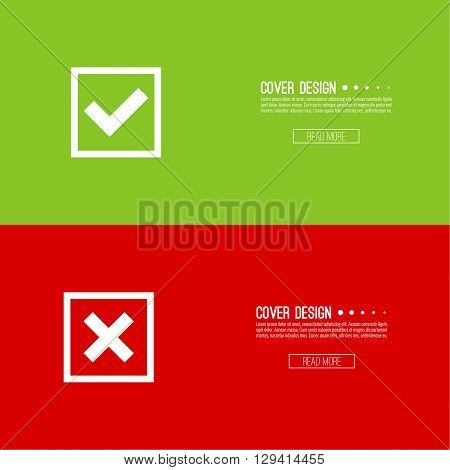 Set of vector buttons with check marks, ticks, x. checkbox. Web and mobile applications.confirmation, form of access denial, refusing. red, green. template, layout