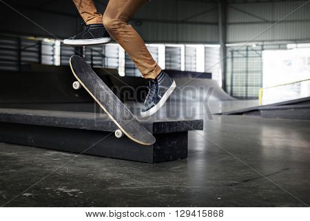 Ramp Extreme Exercise Sports Jump Skateboard Concept