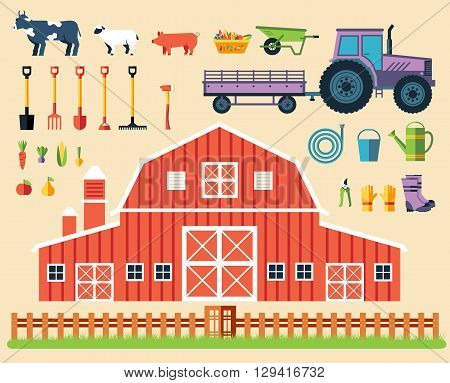 Flat Farm In Village Set Sprites And Tile Sets. Instruments, Flowers, Vegetables, Fruits, Hay, Farm