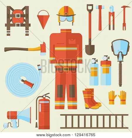 Firefighter Uniform And First Help Equipment And Instruments. On Flat Style Background Concept. Vect