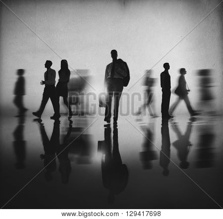 Silhouette Business People Commuter Walking Concept