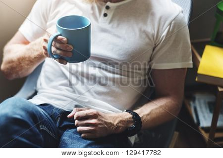 Man Drinking Coffee Chilling Relax Concept