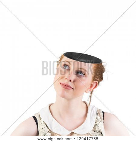Hipster redhead looking up thinking on white background