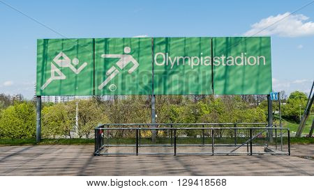 Munich, Germany, 24 April 2016: Sign of the Olympic stadium in Munich Germany