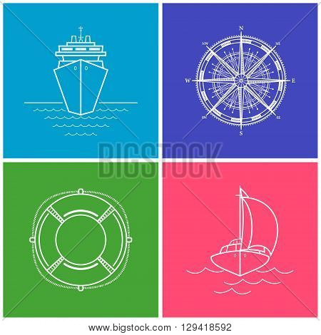 Colorful Icons Cruise Ship, Compass Rose, Lifebuoy, Yacht, Set of Maritime Icons for Web Design, Vector Illustration