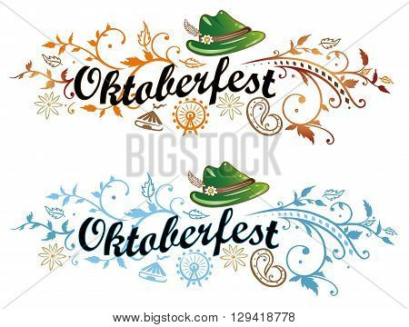 Oktoberfest lettering in two variations, blue and autumn style.