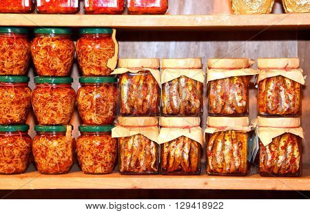 Jars Of Anchovies And Sardines In Oil In Southern Italian Shop