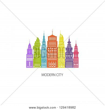 Colorful Modern Big City with Buildings and Skyscraper, Architecture Megapolis, City Financial Center , Flat , Architecture Concept, Logo Design Element, Emblem for Real Estate , Vector