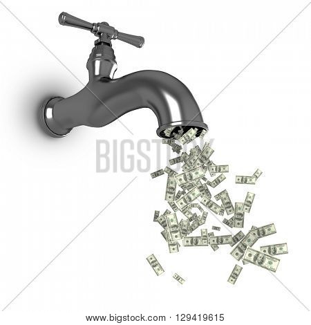 Falling dollars against low angle view of faucet