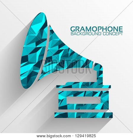 Polygonal Retro Gramophone Vector Background Concept. Illustration Tamplate For Web And Mobile