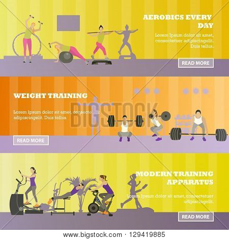 Fitness center horizontal banners set. Sport equipment and accessories. Training concept vector illustration. People running on treadmill, lifting weights, working out.