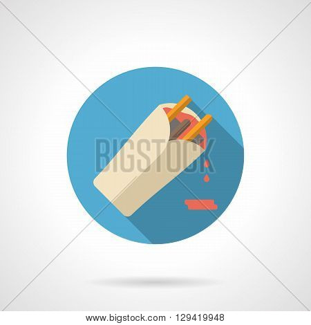 Burrito with red sauce Long shadow. Fast food, vegetable and meat menu for food establishments. Mexican cuisine. Round flat color style vector icon. Web design element for site, mobile and business.