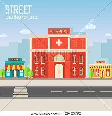 Hospital Building In City Space With Road On Flat Syle Background Concept. Vector Illustration Desig