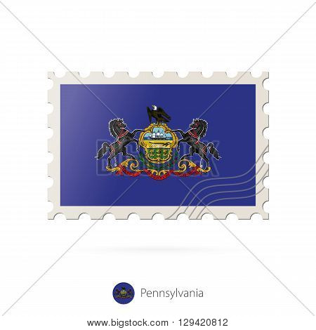 Postage Stamp With The Image Of Pennsylvania State Flag.