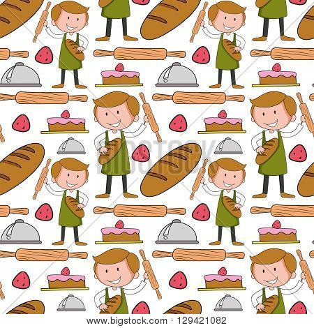 Seamless background with baker and bakery illustration