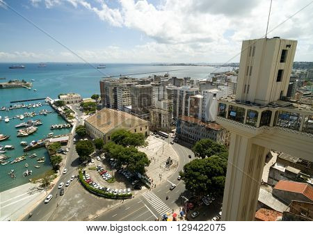 Aerial view of Lacerda Lift in Salvador, Bahia, Brazil