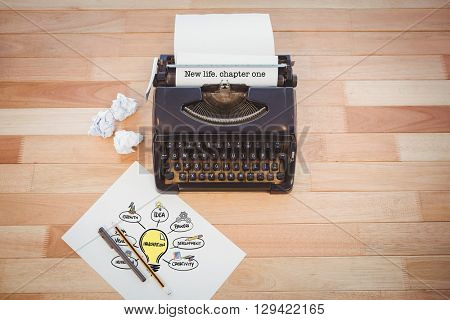 The word new life. chapter one and innovation doodle against typewriter and paper on table in office