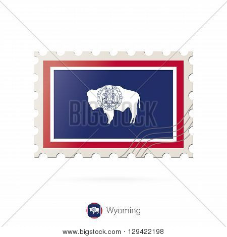 Postage Stamp With The Image Of Wyoming State Flag.