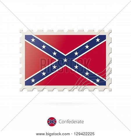 Postage Stamp With The Image Of Confederate State Flag.