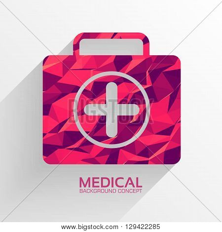 Polygonal Medical First Aid Kit Vector Background