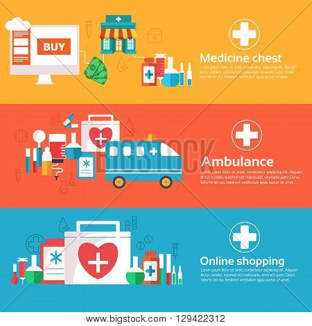 Set Of Banners Flat Medical Icons Illustration Concept