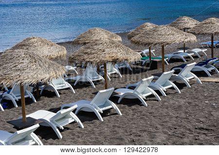 Cane umbrellas at the beach