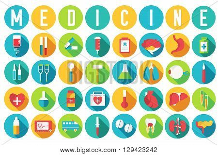 Set Flat Medical Equipments And Human Anatomy Body Organs Icons Illustration Concept. Vector Backgro