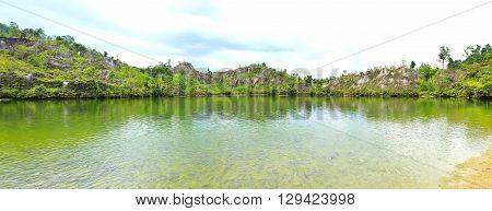 Panorama Ranong Canyon in Ranong in Thailand.