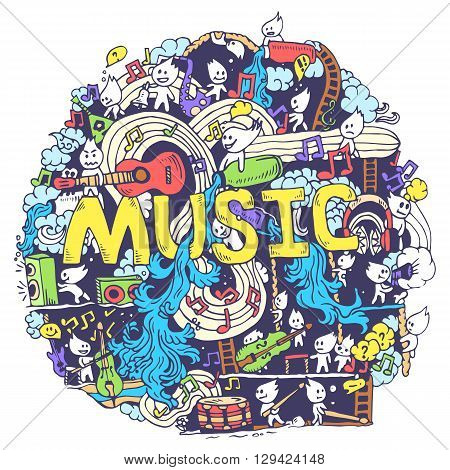 Abstract Musical Art With Funny Creatures Hand Draw Background Design. Vector Illustration Concept