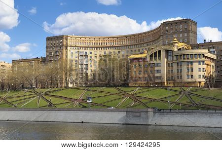 MOSCOW, RUSSIA - APRIL 24, 2016: View of the House of Architects (House Rostov embankment) apartment building built in the years 1934-1938 in the style of Neo-Constructivism