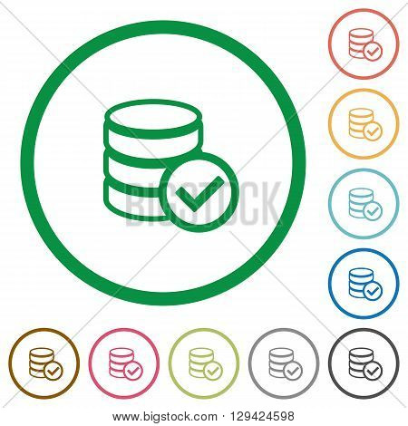 Set of database ok color round outlined flat icons on white background