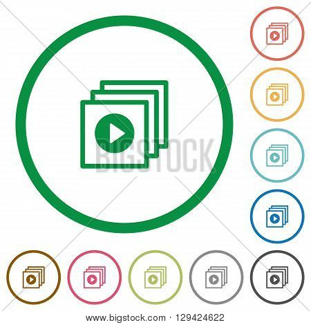 Set of play files color round outlined flat icons on white background