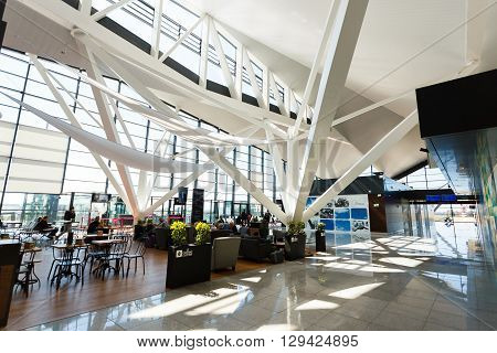 Gdansk Poland May 02 2016: Interior of modern building of Lech Valesa airport in Gdansk