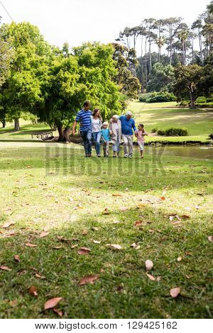 Multi-generation family walking together in the park on a sunny day