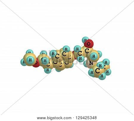 Metoprolol is a selective beta receptor blocker medication. It is used to treatment high blood pressure chest pain due to poor blood flow to the heart. 3d illustration