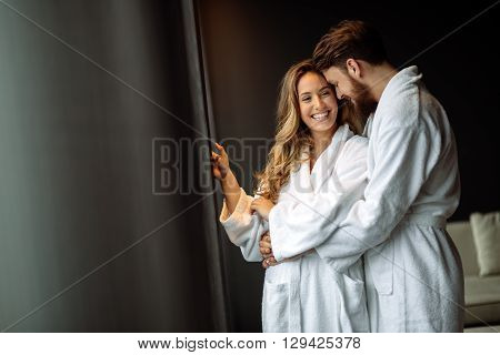 Couple enjoying wellness weekend and spa relaxtion
