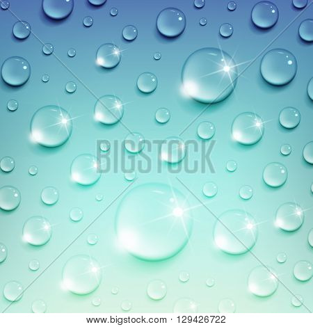 shiny water drops on a blue background
