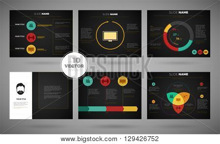Infographic template presentation set with business strategy creative process symbols dark slides vector illustration
