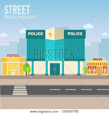 Police Building In City Space With Road