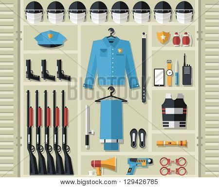 Police Uniform And Set Protection Staff Equipment In The Closet Office. On Flat Style Background Con