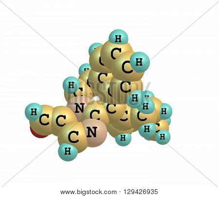 A model of Alcaftadine or Lastacaft an antihistamine drug. 3d illustration