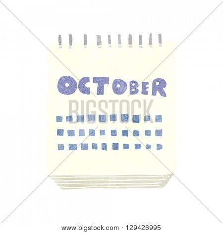freehand retro cartoon calendar showing month of october