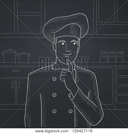 Chef pointing forefinger up.
