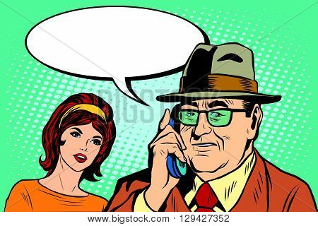 woman and man talking on the phone pop art retro style. Boss and Secretary