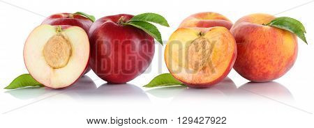 Peach Nectarine Peaches Nectarines Fruit Fruits Isolated On White