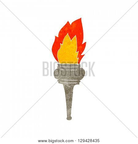 freehand retro cartoon flaming torch