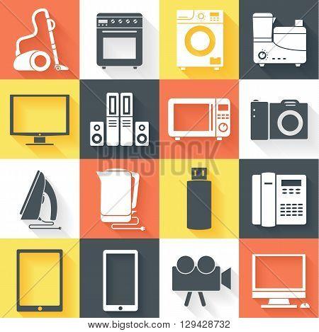 Flat Modern Kitchen Appliances Set Icons