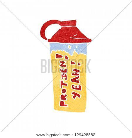 freehand retro cartoon protein shake