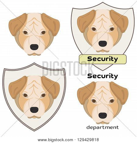 Vector illustration of a dog head on white background. Mastiff. Set of logo for security department. Security logo.