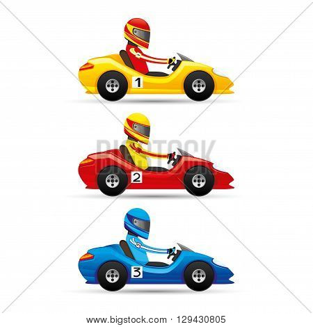 Vector set of mini racing cars on a white background.